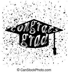 Silhouette of Graduation Cap with Lettering