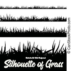 Silhouette of grass of different heights