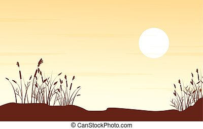 Silhouette of grass on hill landscape