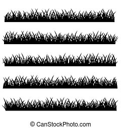 Silhouette of Grass Set Isolated on White Background. Vector