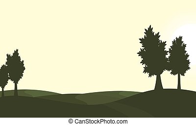 Silhouette of green hill and tree scenery