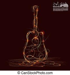 Silhouette of guitar fire art. Vector illustration