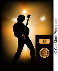 guitar player - silhouette of guitar player on stage