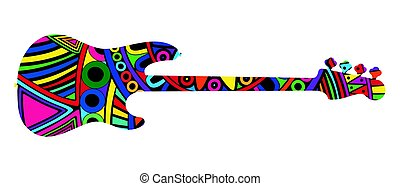 Silhouette of guitar. - Silhouette of colorful electric bass...