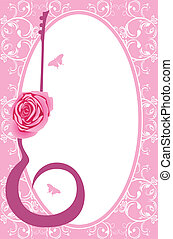 Silhouette of guitar with rose