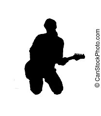Silhouette of guitarist - Black silhouette of a playing...