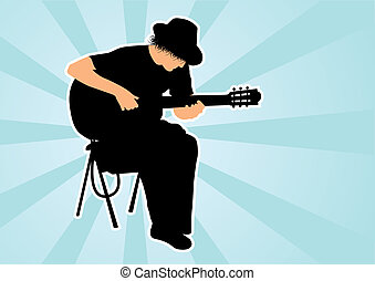 Silhouette of guitarist  - Guitar player silhouette