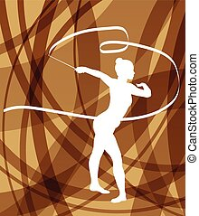 Silhouette of gymnast girl art gymnastics with ribbon abstract colorful background concept