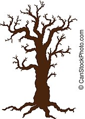 Silhouette of Halloween tree, bare spooky scary Halloween tree. Vector illustration.