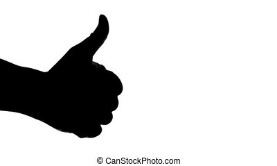 Silhouette of hand giving thumb up on white background.