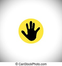 silhouette of hand icon of child or kid - vector concept graphic