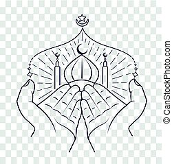 silhouette of hands praying namaz - silhouette of hands...