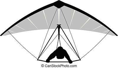 Silhouette of hang glider
