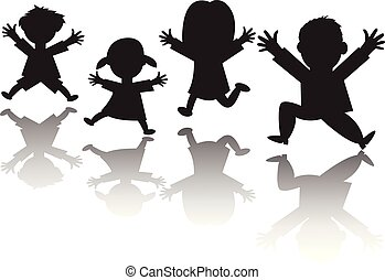 Silhouette of happy family of four jumping with hands in the air - vector