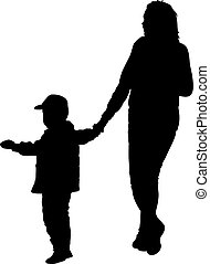 Silhouette of happy family on a white background