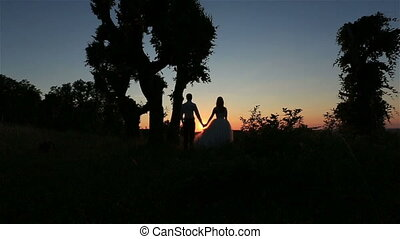Silhouette of happy wedding couple holding hands and lovingly look ant each other on the forest background. Wonderful sunset in countryside