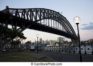 Silhouette of Harbour Bridge, Sydney - Silhouette of the...