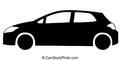 Silhouette of hatchback car including windows, lights and tires