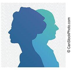 Side profile portrait silhouette of elderly lady blowing