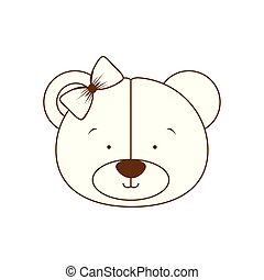 silhouette of head of cute bear on white background