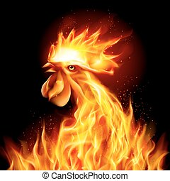 Silhouette of Head Red Cock. Fire Rooster Symbol of the New Year by Chinese Calendar. Christmas Card New Years design