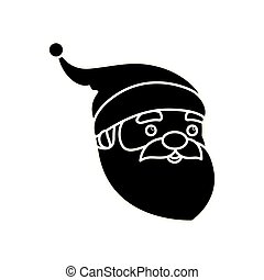 silhouette of head santa claus character merry christmas