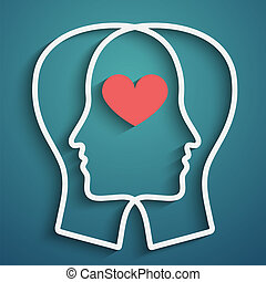 SIlhouette of head with heart symbol