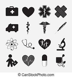 Health icon - silhouette of Health icon over white...