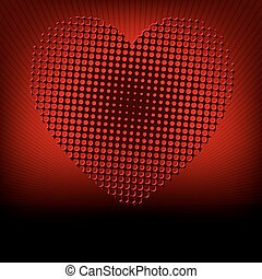 Silhouette of heart on a red background