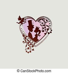 silhouette of heart with boy and girl and cupid