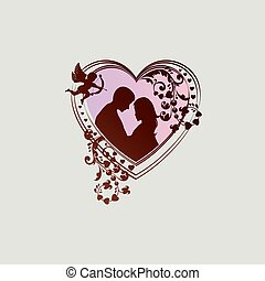 silhouette of heart with boy, girl and cupid