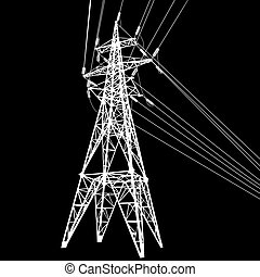 Silhouette of high voltage power lines on black background...