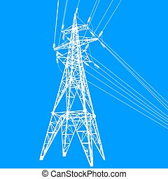 Silhouette of high voltage power lines on blue background...
