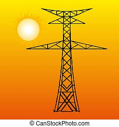 Silhouette of high voltage power lines on orange background. Vector illustration. eps10