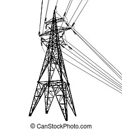 Silhouette of high voltage power lines on white background...