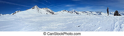 looking beautiful peak mountain snowy under blue sky