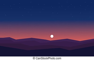 Silhouette of hill at night