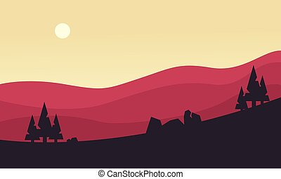 Silhouette of hill at the sunrise
