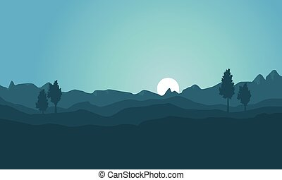 Silhouette of hill background collection