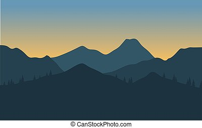 Silhouette of hills with gray background