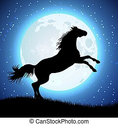 Silhouette of horse on the moon background