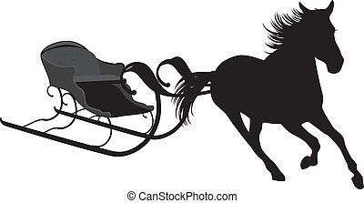 Silhouette of horse with sledges