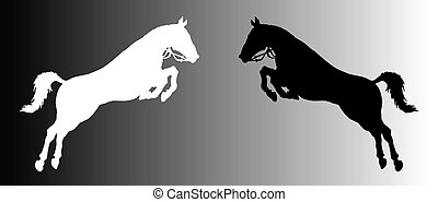 vector silhouette of two horses