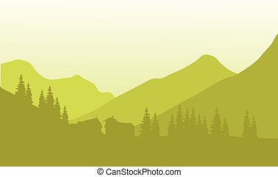 Silhouette of house below the mountain