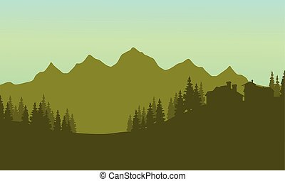 Silhouette of house in mountain