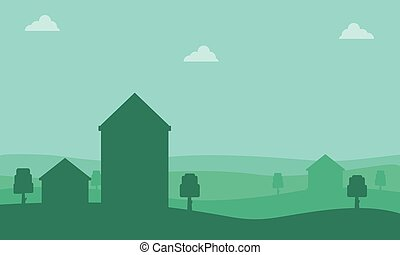 Silhouette of house on the hill landscape