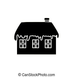silhouette of house with snow isolated icon