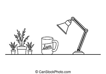silhouette of houseplant with lamp in white background