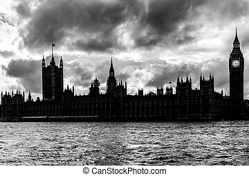 Silhouette of Houses of Parliament and the Big Ben in London...