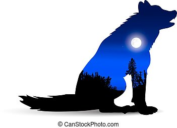 Silhouette of howling wolf